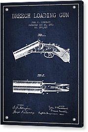Breech Loading Gun Patent Drawing From 1883 - Navy Blue Acrylic Print