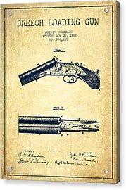 Breech Loading Gun Patent Drawing From 1883 - Vintage Acrylic Print