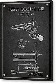 Breech Loading Shotgun Patent Drawing From 1879 - Dark Acrylic Print
