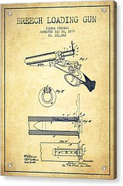 Breech Loading Shotgun Patent Drawing From 1879 - Vintage Acrylic Print