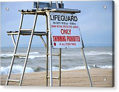 Breezy Lifeguard Chair Acrylic Print