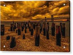 Breezy Point Sunset Acrylic Print by Linda Karlin