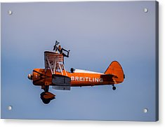 Acrylic Print featuring the photograph Breitling Wingwalker Cockpit Stand by Scott Lyons