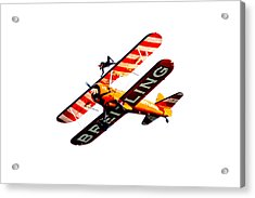 Acrylic Print featuring the photograph Breitling Wingwalker High Contrast Sunderland Air Show 2014 by Scott Lyons