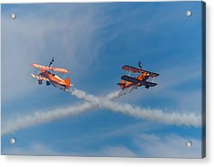 Acrylic Print featuring the photograph Breitling Wingwalkers Cross Sunderland 2014 by Scott Lyons