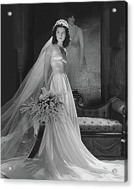 Brenda Frazier In A Herman Patrick Tappe Wedding Acrylic Print by Horst P. Horst