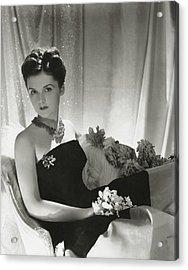 Brenda Frazier Wears A Strapless Velvet Dress Acrylic Print by Horst P. Horst