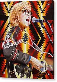 Acrylic Print featuring the painting Brett Dennen by Joshua Morton