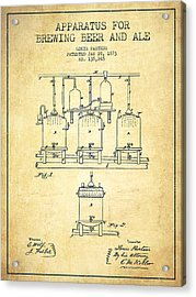 Brewing Beer And Ale Apparatus Patent Drawing From 1873 - Vintag Acrylic Print by Aged Pixel