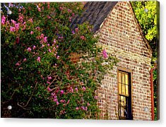 Acrylic Print featuring the photograph Brick And Myrtle by Rodney Lee Williams