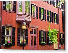 Brick Houses And Gas Street Lamp Acrylic Print by Russ Bishop