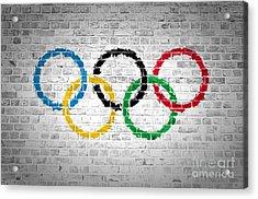 Brick Wall Olympic Movement Acrylic Print by Antony McAulay