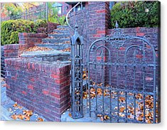 Acrylic Print featuring the photograph Brick Wall With Wrought Iron Gate by Janette Boyd