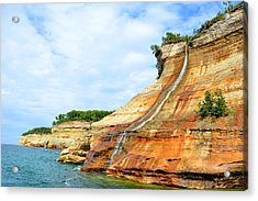 Bridal Veil Falls Pictured Rocks Michigan Acrylic Print by Forest Floor Photography