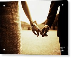 Bride And Groom Holding Hands In Sepia - Analog 35mm Black And White Film Photo Acrylic Print by Edward Olive