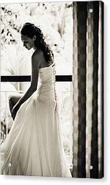 Bride At The Balcony II. Black And White Acrylic Print by Jenny Rainbow