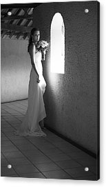 Bride At The Window I. Black And White Acrylic Print by Jenny Rainbow