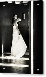Bride I. Black And White Acrylic Print by Jenny Rainbow