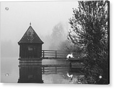 Bride In Foggy Landscape Sitting On A Jetty At A Lake Acrylic Print by Leander Nardin