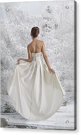 Bride In The Snow Acrylic Print by Angela A Stanton