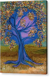 Bridesmaid Tree Blue Acrylic Print by First Star Art