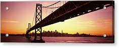Bridge Across A Bay With City Skyline Acrylic Print by Panoramic Images