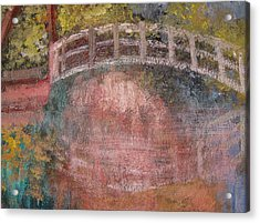 Acrylic Print featuring the mixed media Bridge After Monet by Diana Riukas