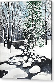 Bridge And Creek - Mill Creek Park Acrylic Print