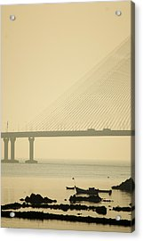 Bridge And Rocks Acrylic Print by Rajiv Chopra