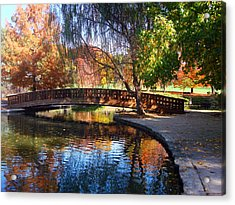 Bridge In Autumn Acrylic Print by Ellen Tully
