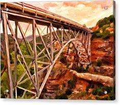 Bridge In Oak Creek Canyon Acrylic Print by Michael Pickett
