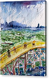 Bridge In The Rain After Van Gogh After Hiroshige Acrylic Print