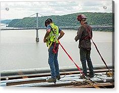 Bridge Lift Construction Workers Acrylic Print