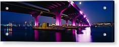 Bridge Lit Up Across A Bay, Macarthur Acrylic Print by Panoramic Images