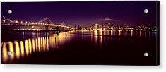 Bridge Lit Up At Night, Bay Bridge, San Acrylic Print by Panoramic Images