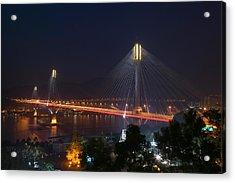 Bridge Lit Up At Night, Ting Kau Acrylic Print