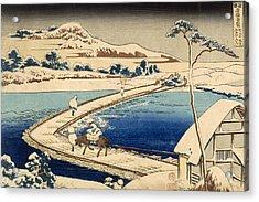 Bridge Of Boats At Sawa Acrylic Print by Hokusai Katasushika