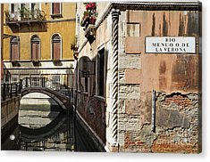 Bridge Over Narrow Canal Acrylic Print by Sami Sarkis