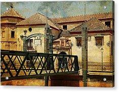 Bridge Over The River Guadalmedina In Malaga I. Spain Acrylic Print by Jenny Rainbow