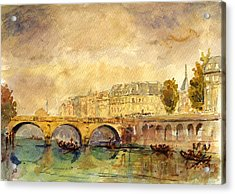 Bridge Over The Seine Paris. Acrylic Print by Juan  Bosco