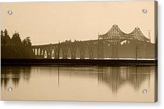 Acrylic Print featuring the photograph Bridge Reflection In Sepia by Katie Wing Vigil