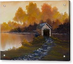 Covered Bridge In Fall Acrylic Print by C Steele