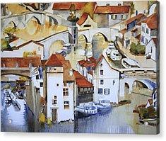 Bridge To Lock Acrylic Print by Shirley  Peters