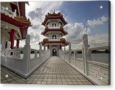 Bridge To Pagoda At Chinese Garden Acrylic Print by David Gn