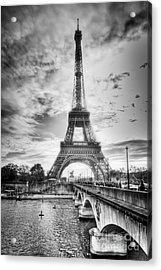 Acrylic Print featuring the photograph Bridge To The Eiffel Tower by John Wadleigh