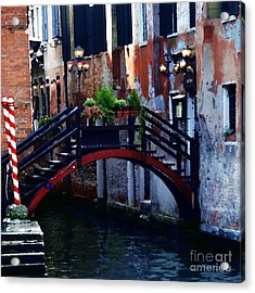 Abstract - Bridge With Flowerbox Acrylic Print by Jacqueline M Lewis