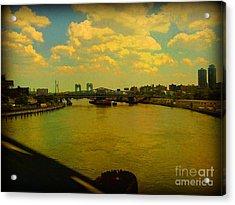 Bridge With Puffy Clouds Acrylic Print by Miriam Danar
