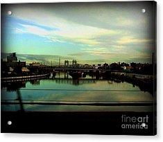 Bridge With White Clouds Acrylic Print by Miriam Danar