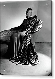 Bridget Bate Tichenor Sitting On A Chaise Lounge Acrylic Print by Horst P. Horst