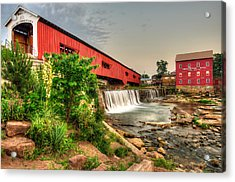 Bridgeton Mill And Covered Bridge Acrylic Print by Gregory Ballos